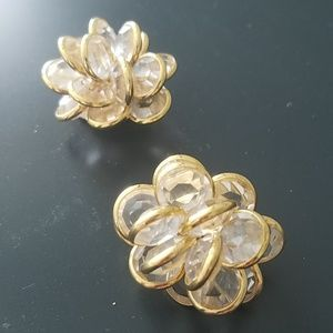 Crystal and gold cluster earrings